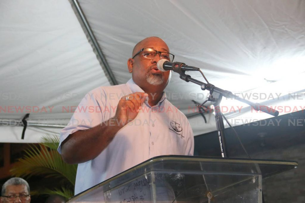 MSJ elections officer Ernesto Kesar speaks at a political meeting in Marabella on Wedenesday night. PHOTO BY MARVIN HAMILTON
