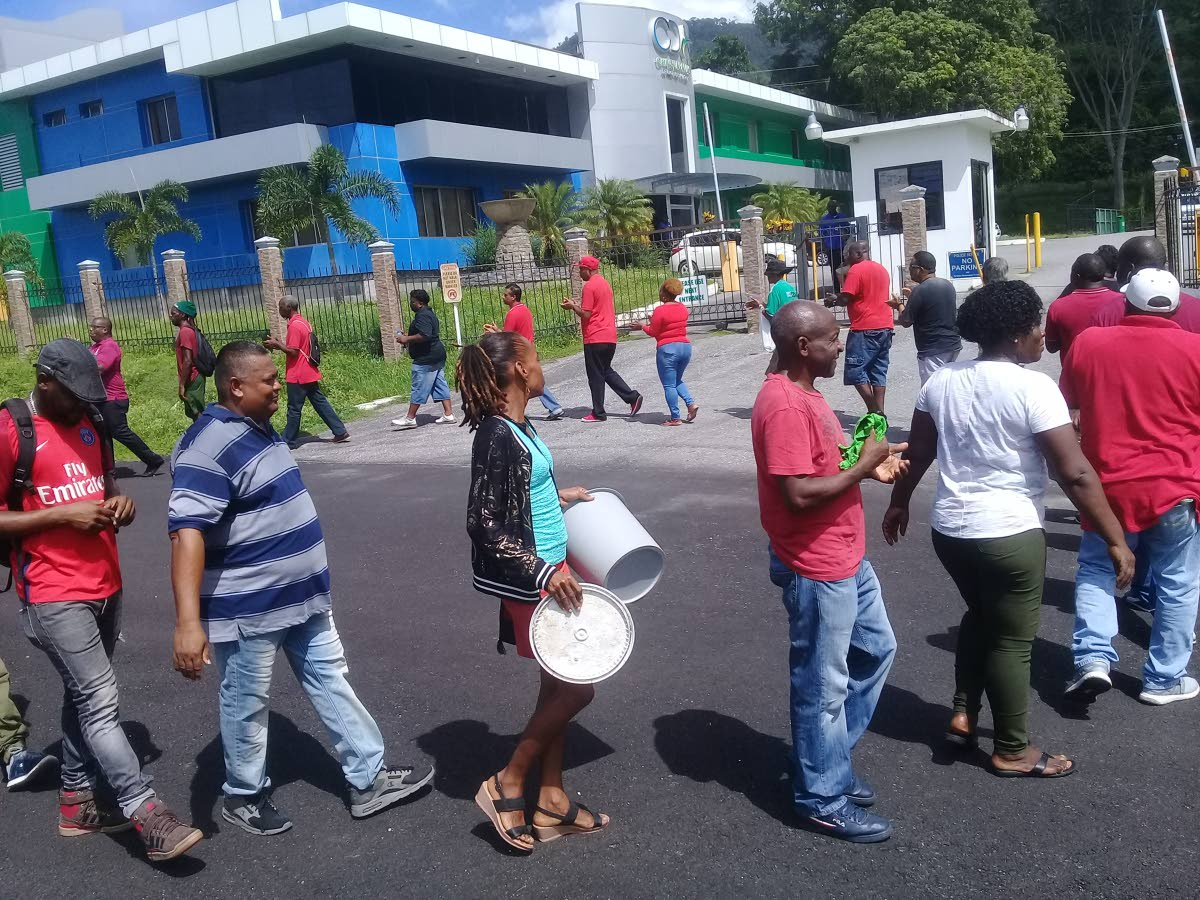 Workers from the Chaguaramas Development Authority (CDA) gathered on the company's compound at, Airways Road, Chaguaramas in an early morning protest.