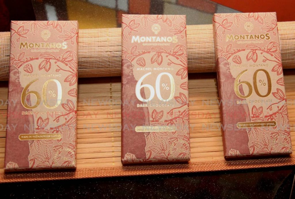 The latest packaging of the Montanos chocolate wrapper on display at the launch of the 60 percent Dark Chocolate at The Cocoa Pod on Gordon Street.  PHOTO BY AYANNA KINSALE