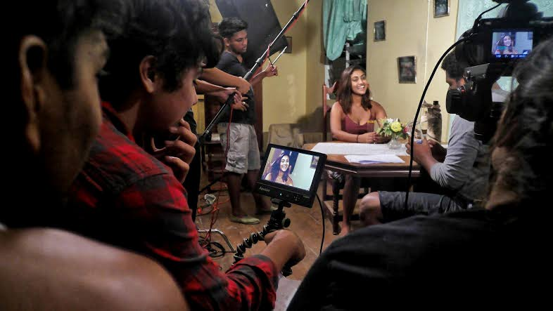 Shooting Back to Freeport, a student film by Jian Hennings and Kyle Sahadeo, shown at the 2017 TT Film Festival Photo courtesty  UWI Film School