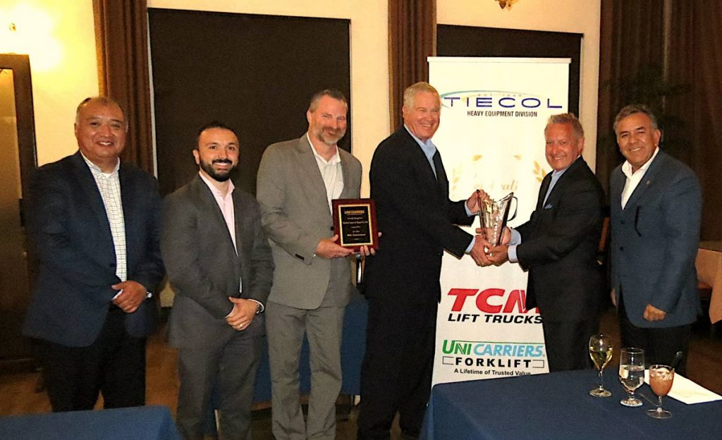 TIECOL receives the Platinum Award, the highest recognition of quality from international forklift manufacturer, TCM/UniCarriers.