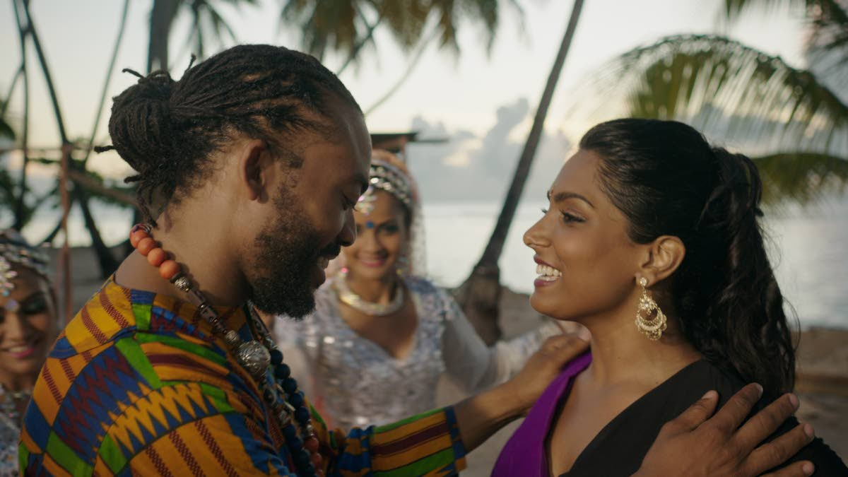 Machel Montano and Natalie Perera in the local film Bazodee.