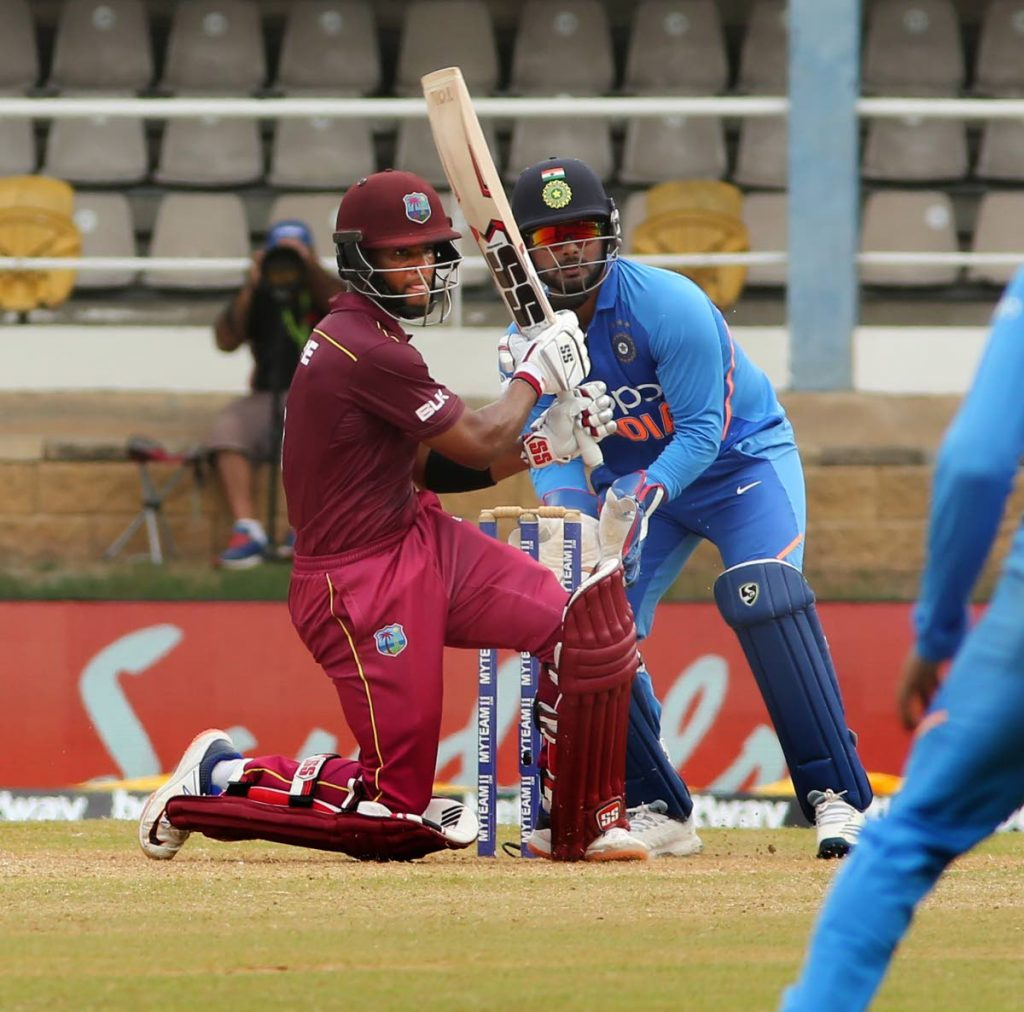 West Indies' Shai Hope pulls a ball to leg during yesterday's match against India. PHOTO BY SUREASH CHOLAI.