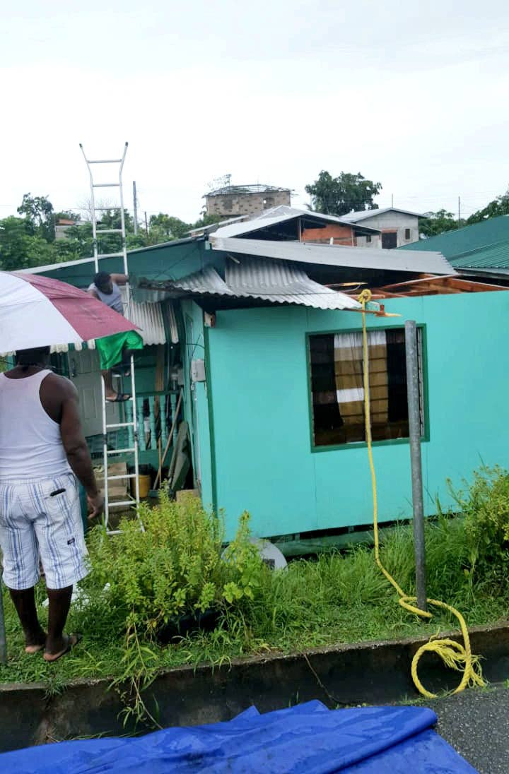 A Roof was blown off in the area of Point Fortin after small flash storm today.  PHOTO COURTESY: MAYOR ABDON MASON