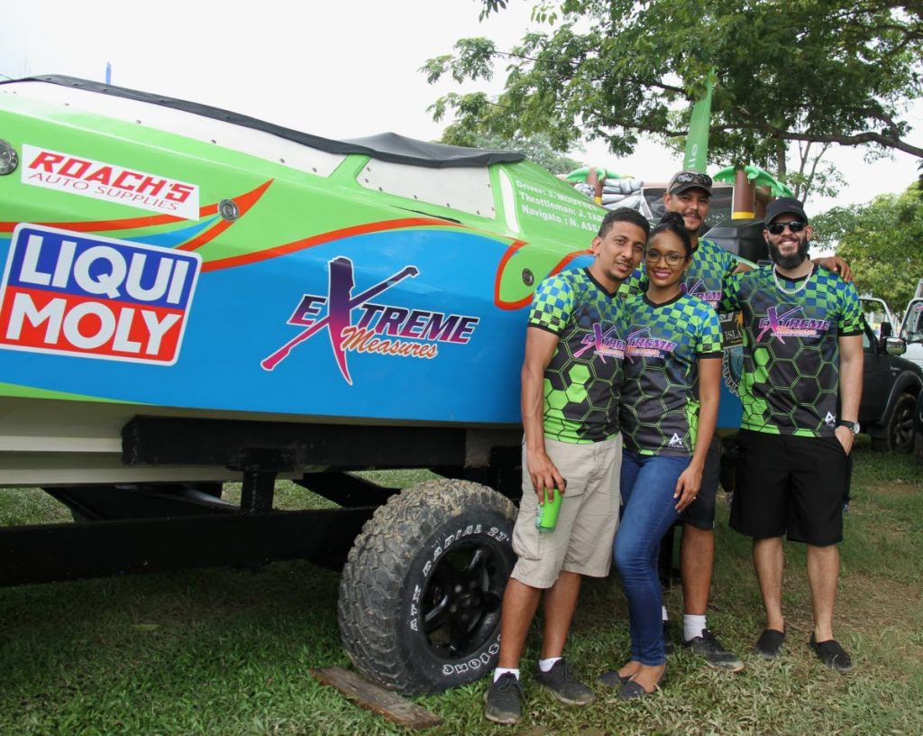 Extreme Measures members at the 2019 Great Race Boat Show, at the Queen's Park Savannah, Port of Spain, earlier this month. PHOTO BY AYANNA KINSALE
