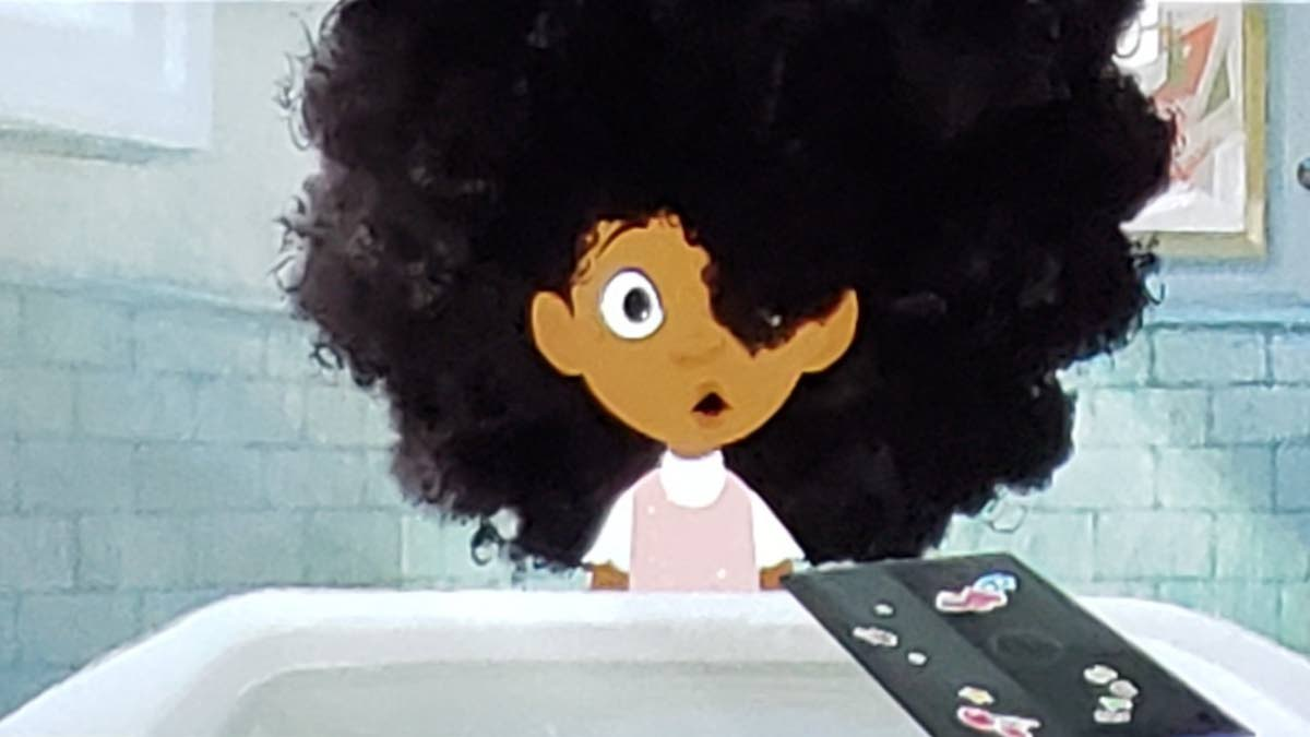 The frazzled hair of the little girl in Hair Love by Mathew A Cherry.