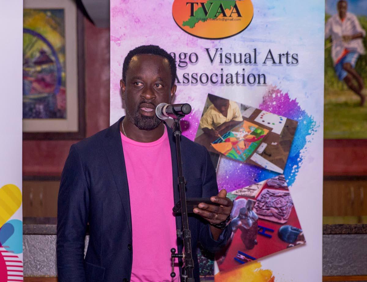 Tobago co-ordinator of Carifesta XIV, Elvis Radgman, speaks on Wednesday at the launch of the art exhibition to commemorate Tobago's involvement in Carifesta. PHOTO BY DAVID REID