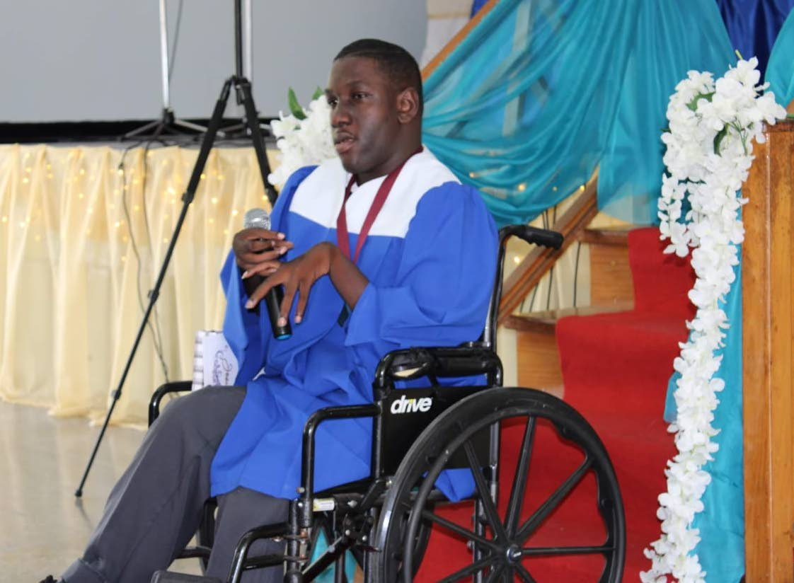 Josiah Thomas of New Grant Secondary School during his graduation. Source: Dr Lovell Francis' facebook page.