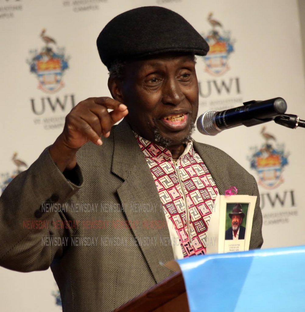 Ngugi's reflections: Kenyan writer Ngugi wa Thiong'o gives the feature address at the launch of Lines of Life Project, a review of late Trinidadian Nobel laureate Sir VS Naipaul's work, at the Institute of Critical Thinking at UWI, St Augustine yesterday. PHOTO BY SUREASH CHOLAI