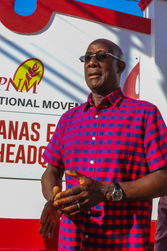 Prime Minister Dr Keith Rowley at the opening of PNM's central regional office in Chaguanas yesterday. PHOTOS BY MARVIN HAMILTON
