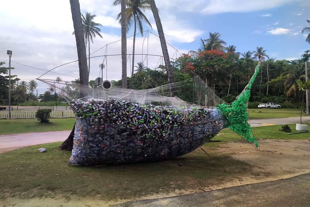 A 'fish' filled with plastic, cans and other recylable items at Pigeon Point Heritage Park.