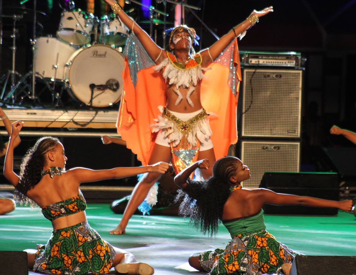 PRIDE: Anguilla performers pay tribute to the cultural ties between their country and TT during their Carifesta Country Night showcase at the Queen's Park Savannah on Monday.