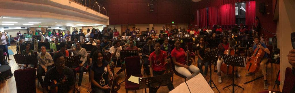The Caribbean Youth Orchestra at practice at City Hall, Port of Spain on Wednesday.