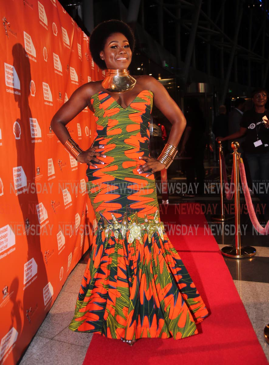 Terri Lyons in regal style at the premiere of Queen of Soca, National Academy for the Performing Arts, Port of Spain on Thursday night.