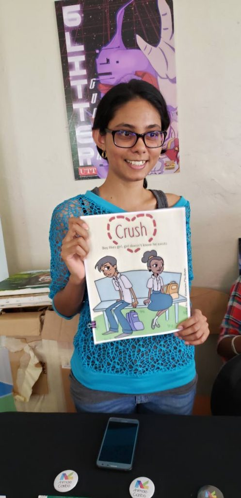 Xiamara Chulhan, 24 shows her final year paper of her animated short Crush at the Animae Caribes's Digital Expo.