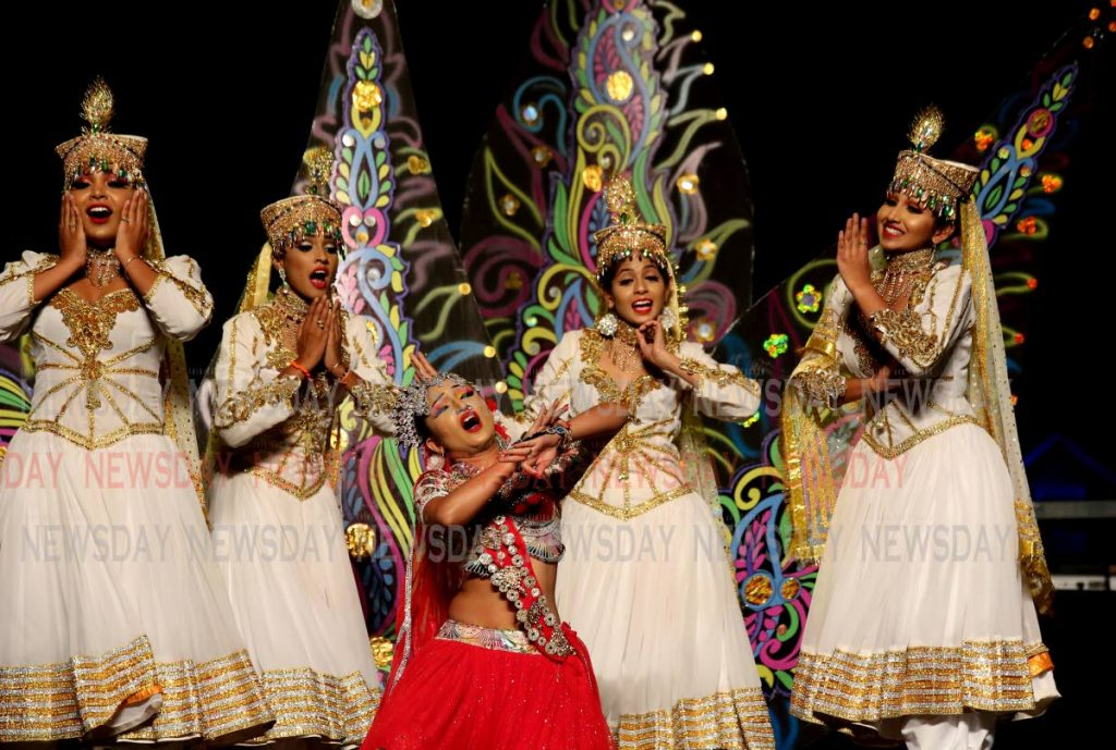 Anastasia Salickram and her dancers in a traditional East Indian performance at Carifesta TT country night.
