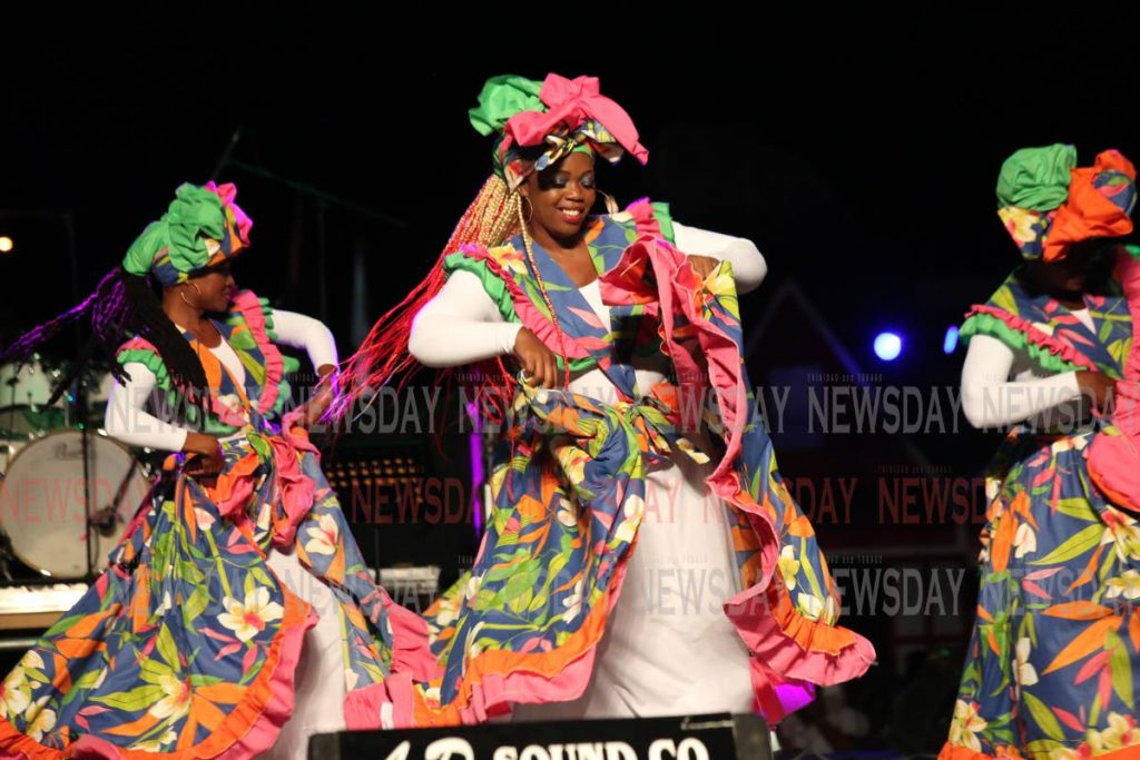 "Former Calypso Monarch Roderick ""Chuck"" Gordon centre stage at Queen's Park Savannah, Port of Spain for TT's Carifesta performance on Friday night."
