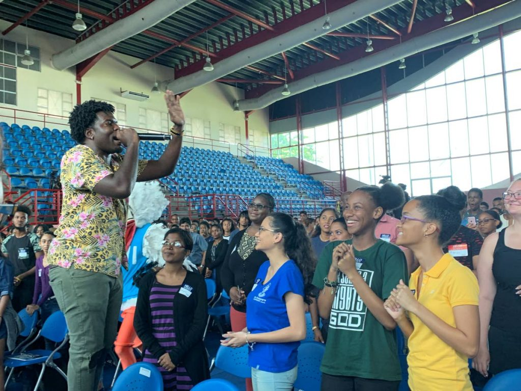 Soca star Preedy performs at the UWI First Year Experience Orientation for new students.