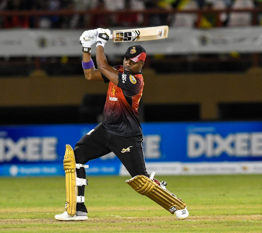 In this Sep 11, 2018 file photo, Darren Bravo of the Trinbago Knight Riders hits a four during a Hero CPL playoff match against the Guyana Amazon Warriors at the Providence Stadium, Guyana. Bravo is fit for tonight's match against St Kitts and Nevis Patriots.