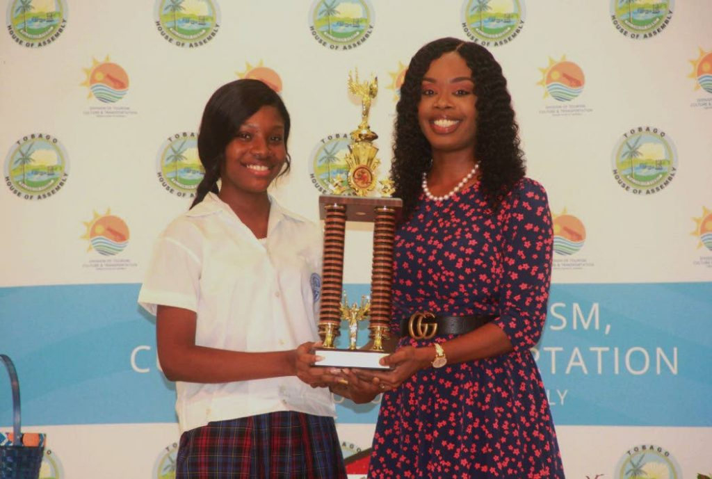 Junior Secretary of Tourism Kayleigh Lewis, seen here with THA Secretary of Tourism, Culture and Transportation Nadine Stewart-Phillips, will represent Tobago at the C'bean Tourism Organisation's Youth Congress in Antigua.