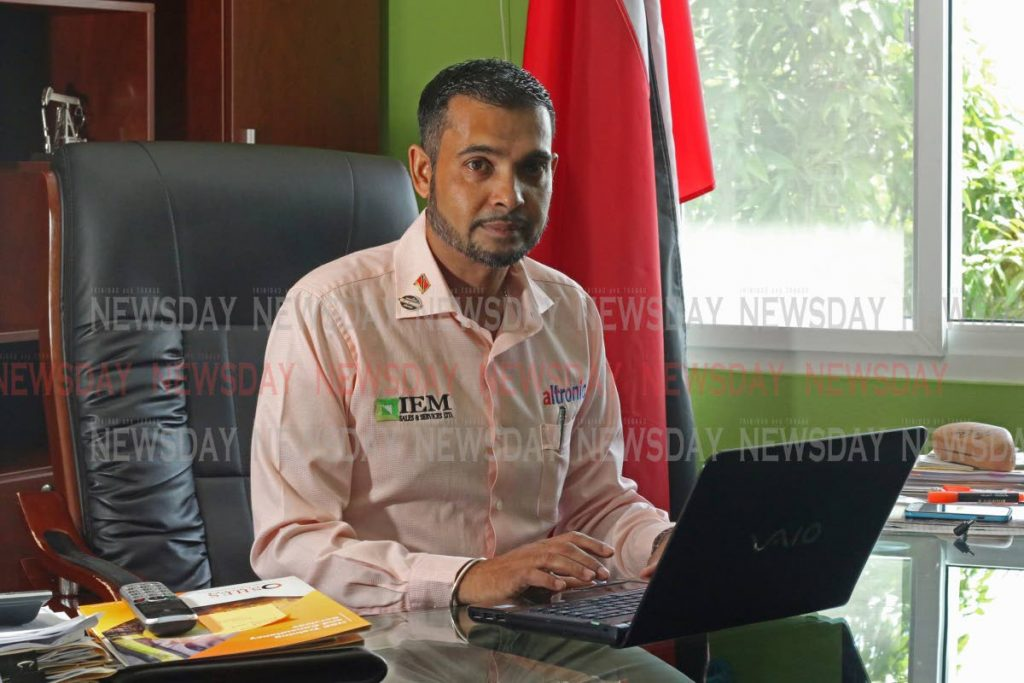 Reza Mohammed, managing director of IEM Sales and Services Ltd at his office in San Fernando. Photo by Marvin Hamilton