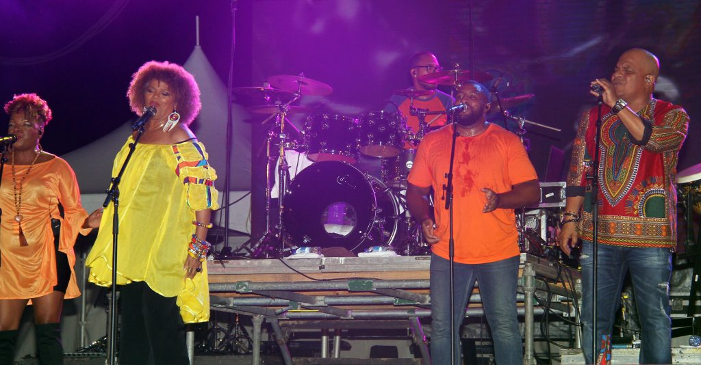 Kassav' from Guadeloupe entertains at Island Beat Super Concert on August 24, at the Queen's Park Savannah, Port of Spain