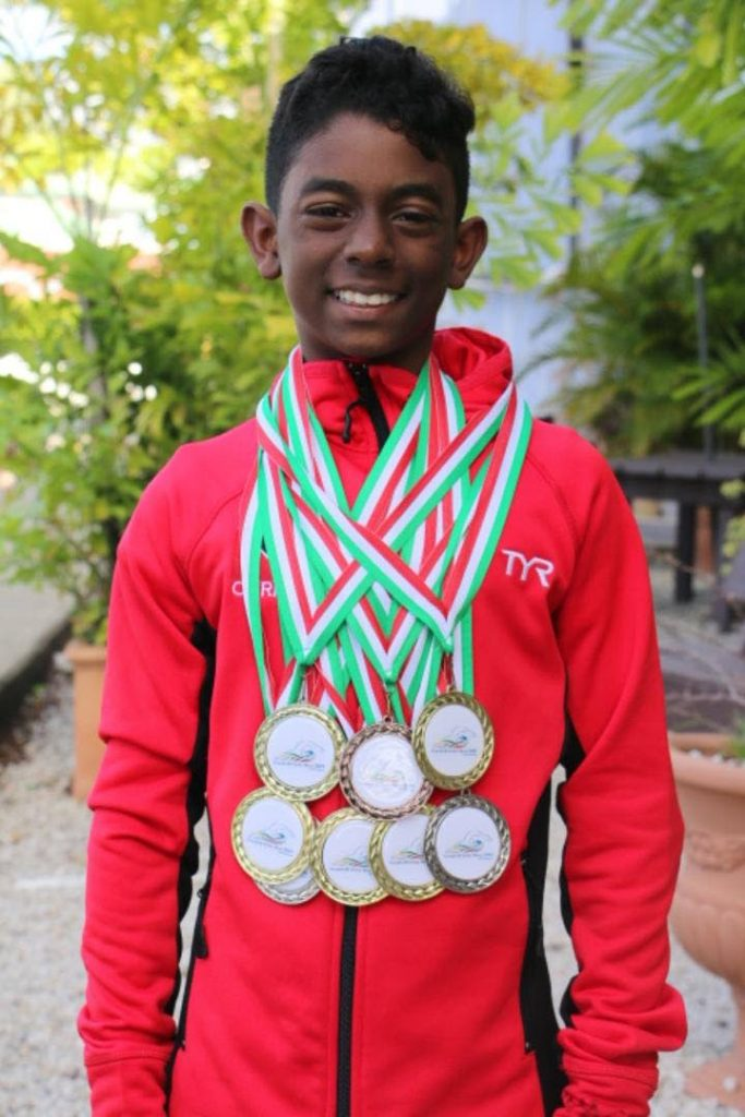 Christiano Rivas came home with a nine medal haul – six of them gold – from the Goodwill Swim Meet in Suriname last month.