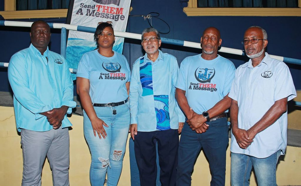 Movement for Social Justice (MSJ) political leader David Abdulah presents the party's local government election candidates for Point Fortin. From left, Steven Bassant, Crystal Burnley, Abdulah, Brian Campbell and Wayne Cyrus.