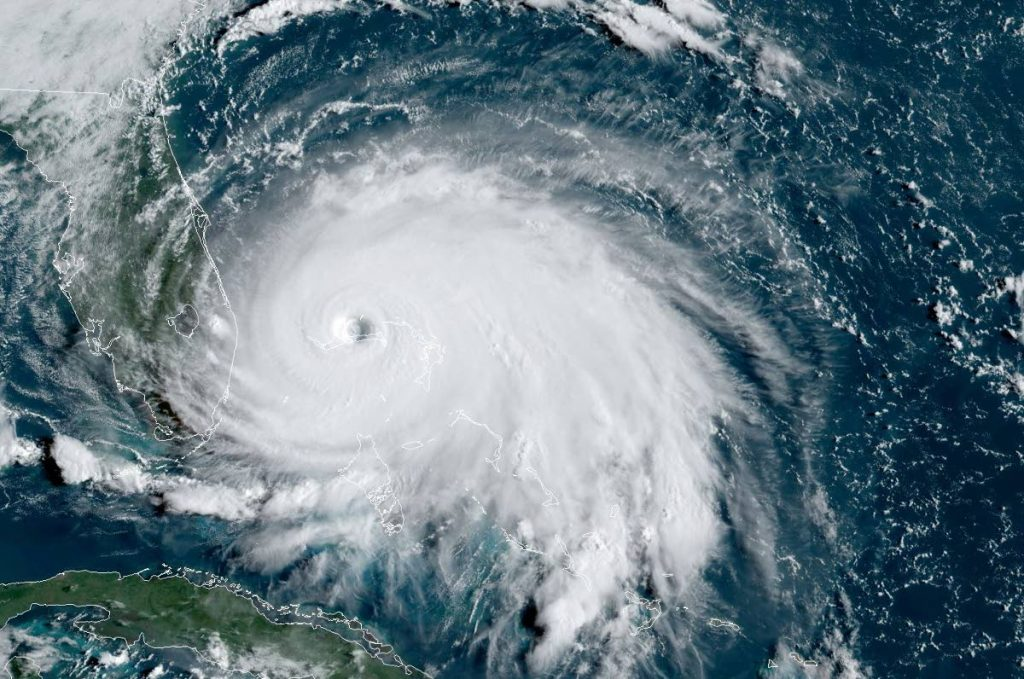 This satellite image from the National Oceanic and Atmospheric Administration (NOAA) in the US shows Tropical Storm Dorian as it approached The Bahamas. AFP PHOTO