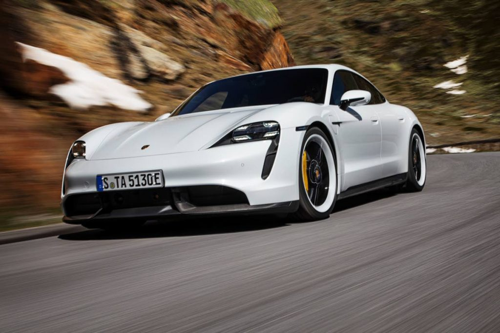 The Porsche Taycan fully electric sports car.