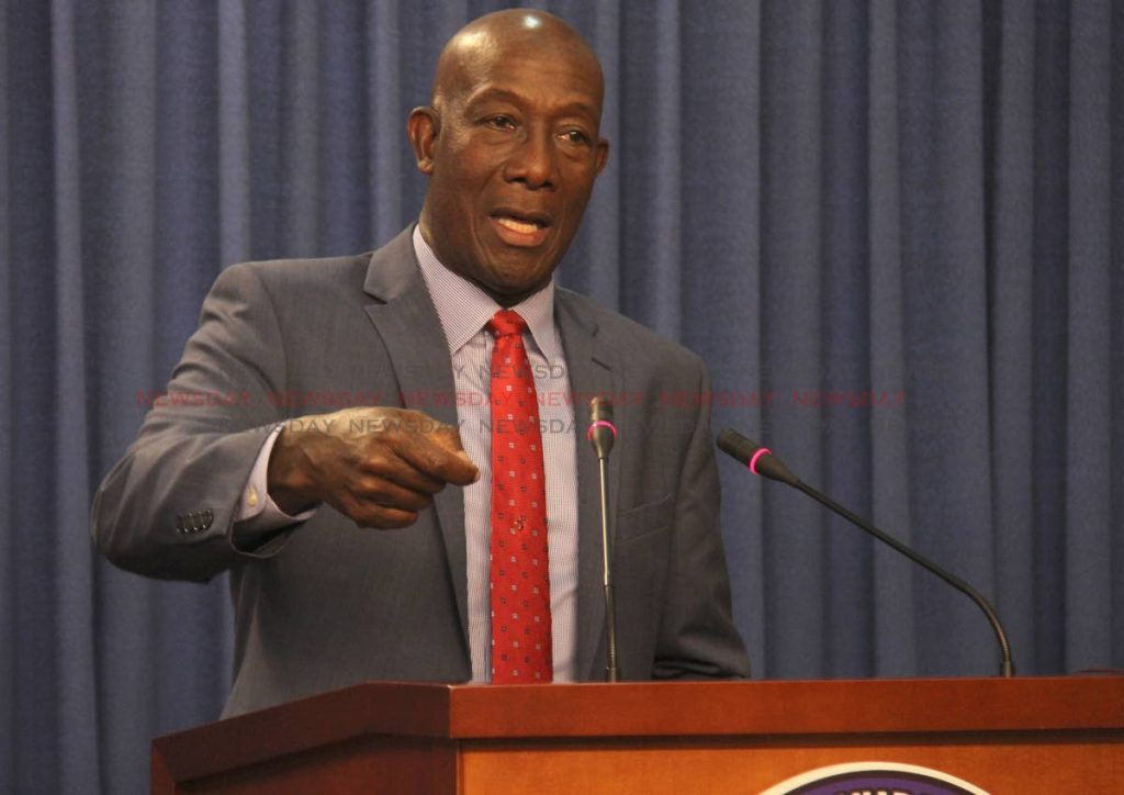 Prime Minister Dr. Keith Rowley speaks at a press conference held at the Diplomatic Centre, St. Ann's yesterday. PHOTO BY AYANNA KINSALE