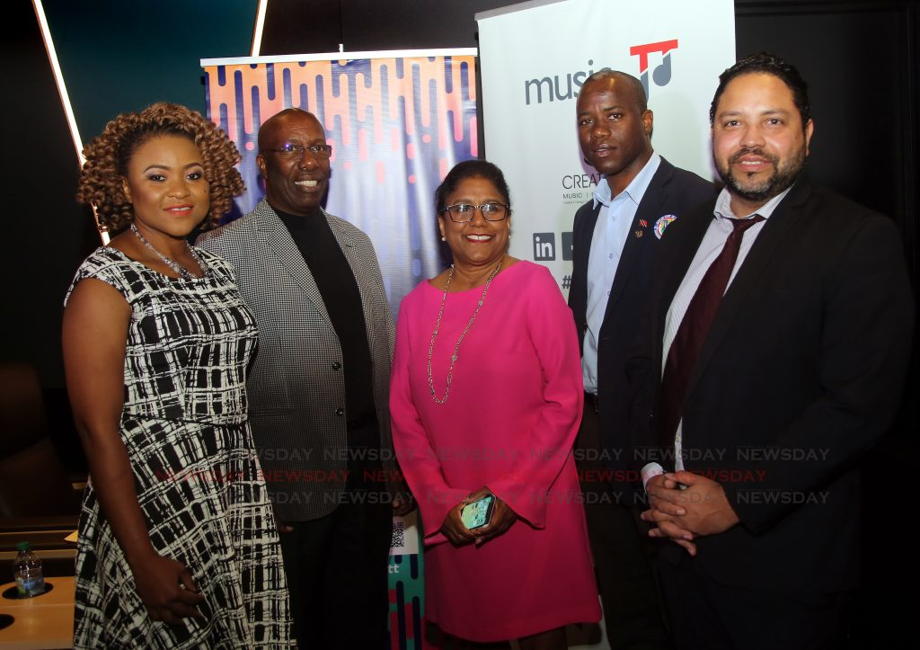 At the launch of Music TT app AMPT, from left Minister of Community Development, Culture and the Arts, Dr Nyan Gadsby-Dolly, John Arnold, Chairman of MusicTT,Minister of Trade and Industry, Paula Gopee-Scoon, Councillor Stephen Harper and  Controller of the Intellectual Property TT Regan Asgarali at Digicel Imax in Woodbrook. PHOTO SUREASH CHOLAI