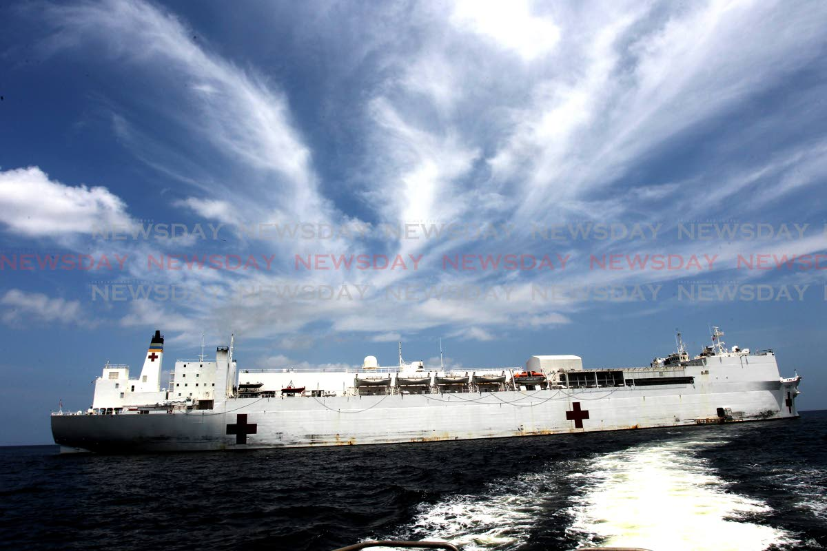 USNS comfort docked in the Gulf of Paria, three miles off the port of Brighton, La Brea. The medical ship is providing medical services to several communities and medical staff will be performing surgeries while docked in Trinidad and Tobago. Photo: Lincoln Holder