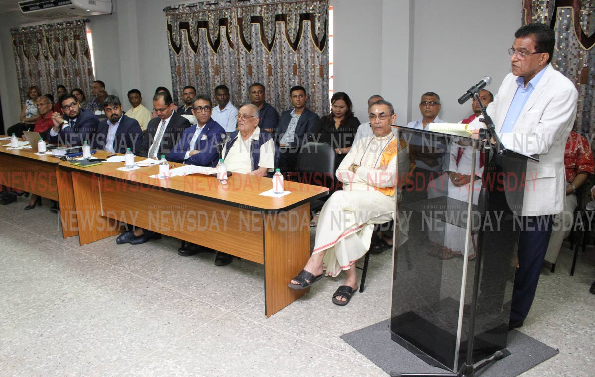Ramesh Lawrence Maharaj SC speaks at a media conference on the Sedition Act at Lakshmi Girls' Hindu College, St Augustine. Present at the head table, from right, are pundit Dr Rampersad Parasram, Maha Sabha secretary general Satnarine Maharaj, attorneys Jagdeo Singh, Dinesh Rambally, Kiel Taklalsingh and Stefan Ramkissoon.   PHOTO BY ANGELO MARCELLE