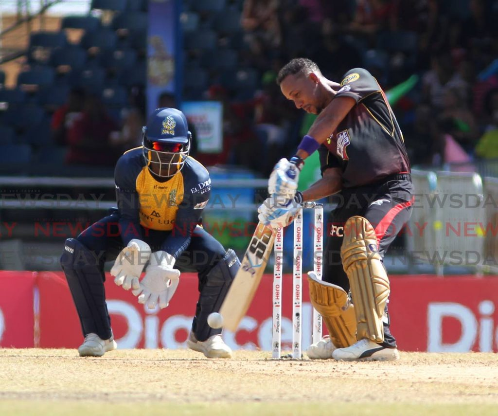 Man of the match Lendl Simmons plays a shot yesterday against the St Lucia Zouks, at the Queen's Park Oval, during match 5 of the Hero CPL T20. PHOTO BY: ROGER JACOB