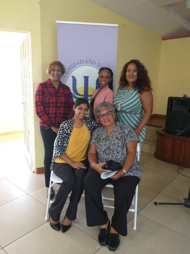 HERE TO HELP: Members of the TT Association of Psychologists before the start of a suicide awareness seminar last Saturday at the Duranta Community Centre in Sangre Grande.  PHOTO BY TYRELL GITTENS