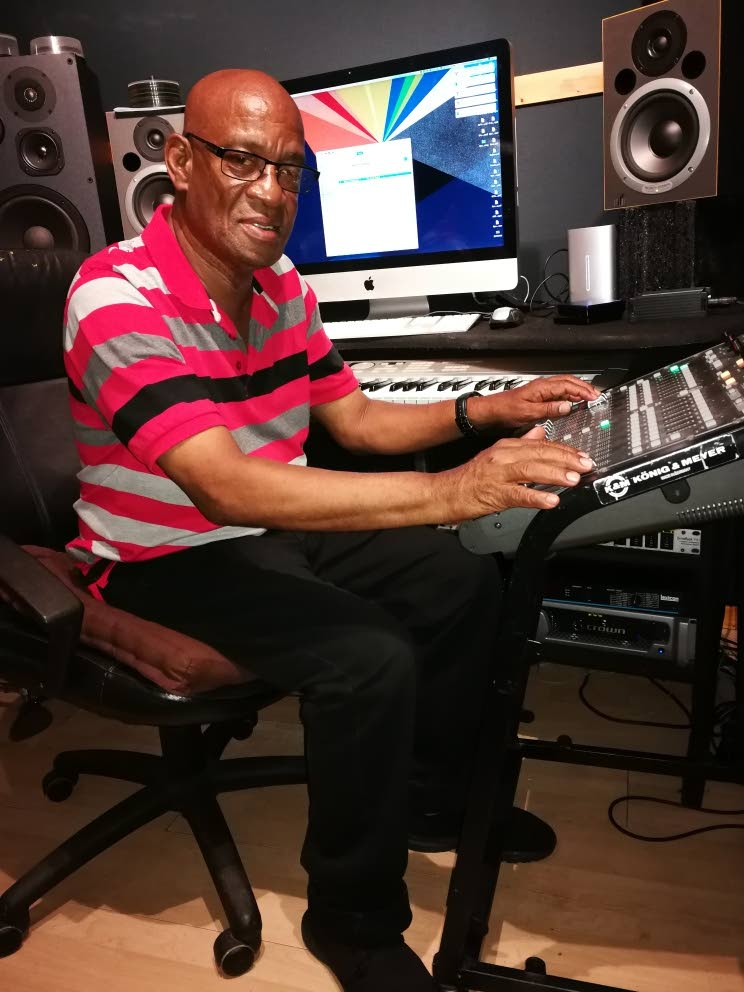 Pelham Goddard seated in his Agra 9 Production Studio in St James yesterday.