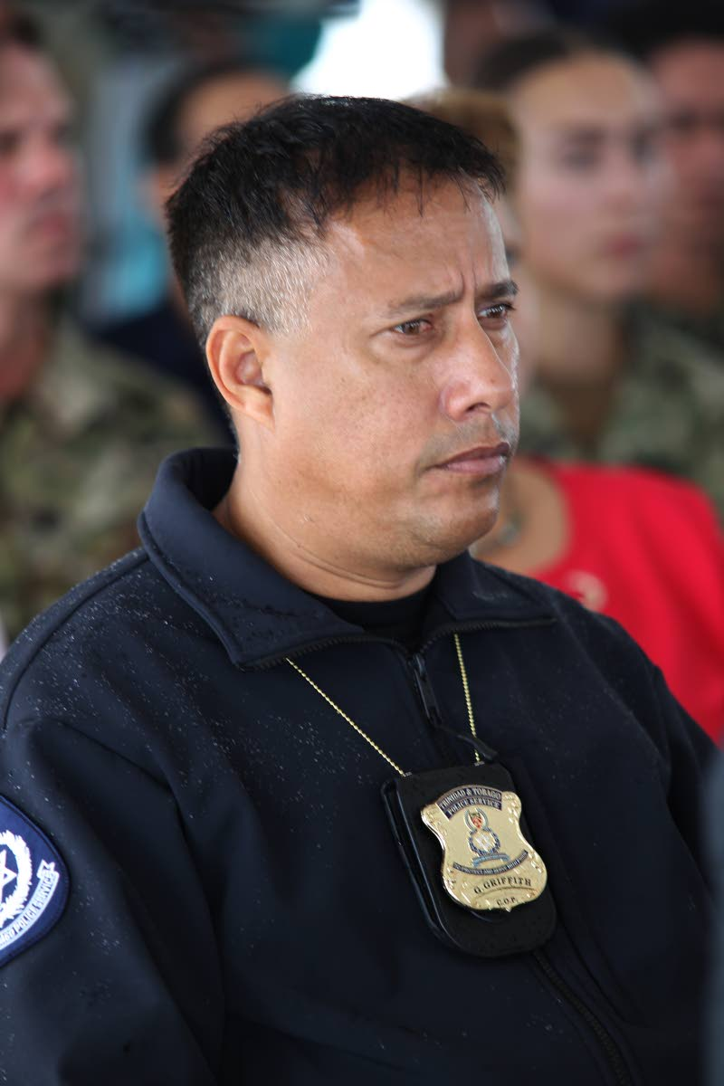 Commissioner of Police Gary Griffith at the closing ceremony to mark the end of the visit of the USNS Comfort at the Port of Brighton, La Brea, yesterday. PHOTO BY LINCOLN HOLDER