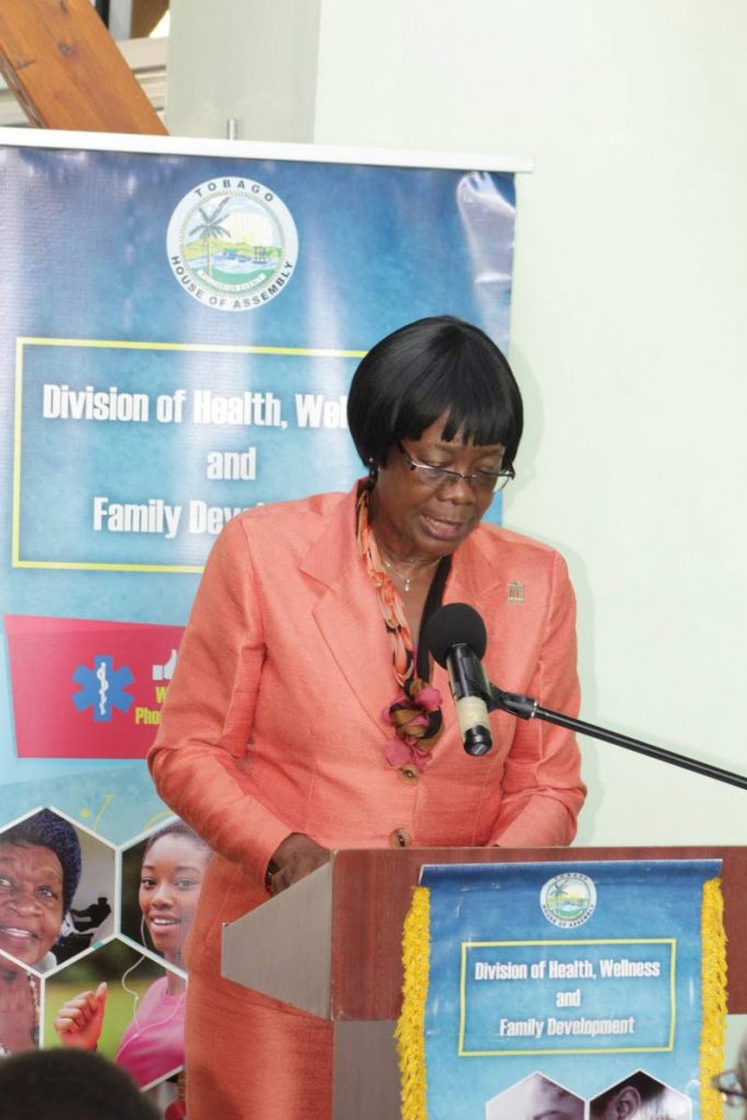 Secretary of Health Dr Agatha Carrington speaks on Monday at a press conference to launch two new health services.