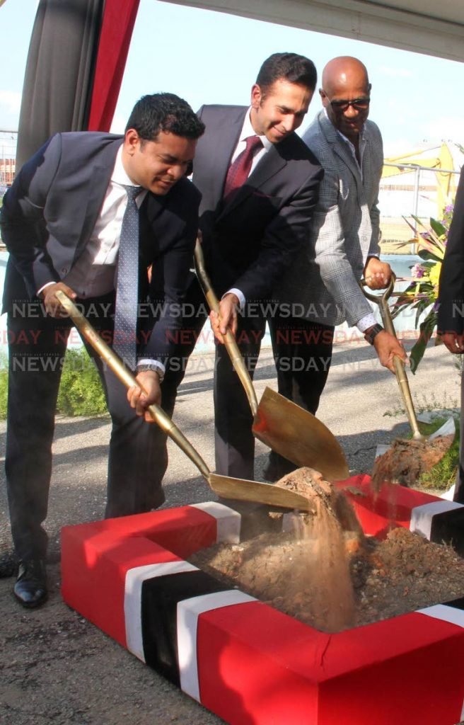 From left MP for San Fernando East Randall Mitchell, MP for San Fernando West Faris Al Wari  and Mayor Junia Regrello turns the sod for the  Skinner Park Redevelopment Project on Thursday afternoon. Photo by Vashti Singh