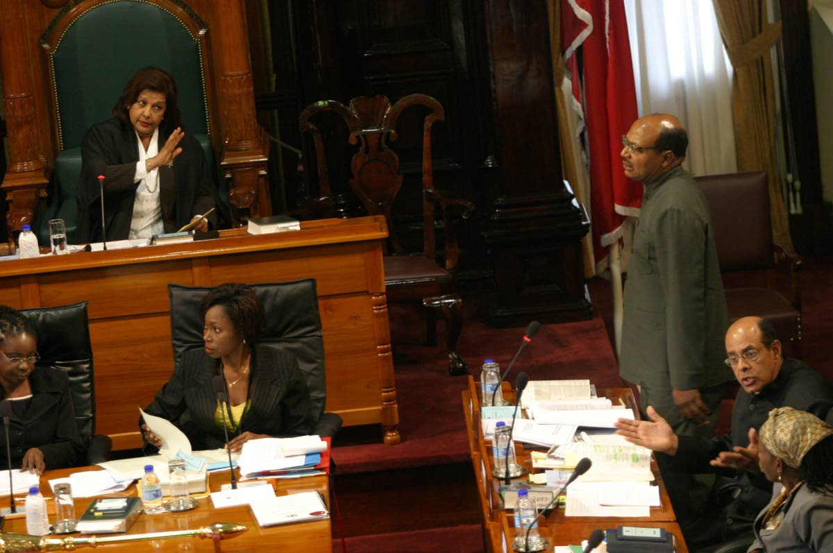 Senate President Linda Baboolal cautions Wade Mark in the Senate on May 9, 2006. FILE PHOTO