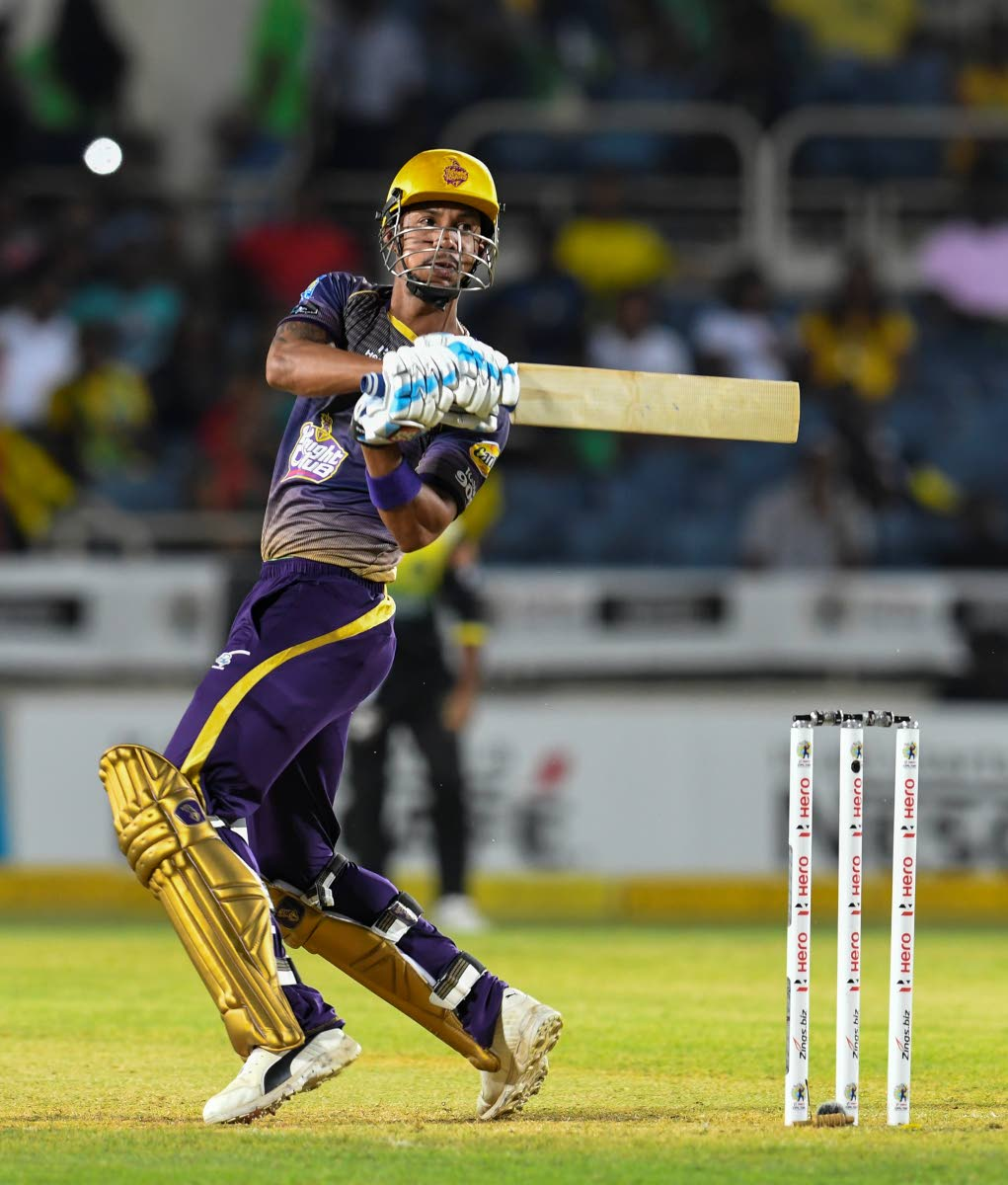 In this handout image provided by CPL T20, Lendl Simmons of Trinbago Knight Riders hits a four during match 10 of the Hero Caribbean Premier League between Jamaica Tallawahs and TKR at Sabina Park, last Friday, in Kingston, Jamaica.