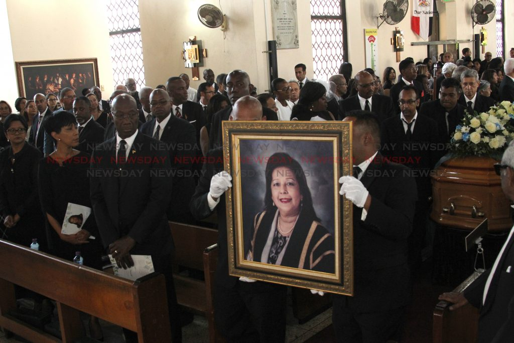 The funeral service of the late Dr. Linda Baboolall, the first woman to serve as president of the senate and acting president of Trinidad and Tobago, and also former MP for the constituency of Barataria San Juan, All Saint's Anglican Church, Port of Spain.  PHOTO BY ROGER JACOB.