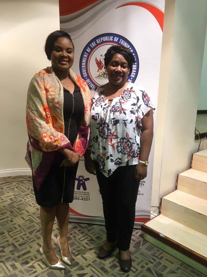 Tobago West MP Shamfa Cudjoe, left, and Antoinette Jack-Martin, Director Gender Affairs, Office of the Prime Minister (Gender and Child Affairs) at the Anne Mitchell-Gift Auditorium, Scarborough Library on Saturday.