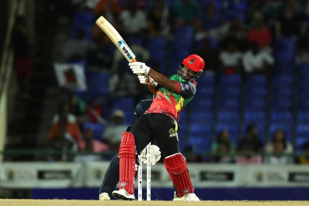 St Kitts and Nevis batsman Evin Lewis smashed 45 off 21 deliveries.