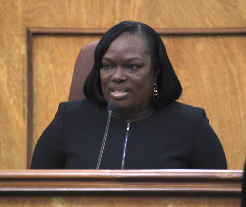 President of the Industrial Court Deborah Thomas-Felix speaks at the special sitting of the Industrial Court to mark the opening of the new law term on Tuesday on St Vincent Street, Port of Spain.
