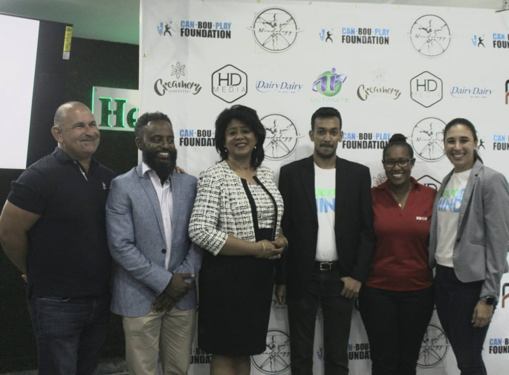 From left-right - Robert Hadad (CEO HADCO), Tobias Ottley (Executive Manager - EDPU - SPORTT), Dr Margaret Nakhid-Chatoor (President TT Association of Psychologists), Amiel Mohammed (CEO - Can Bou Play Foundation), Amanda Johnson (EDPU - SPORTT), Alexandria Olton (Mindology Trinidad) at Monday's launch.