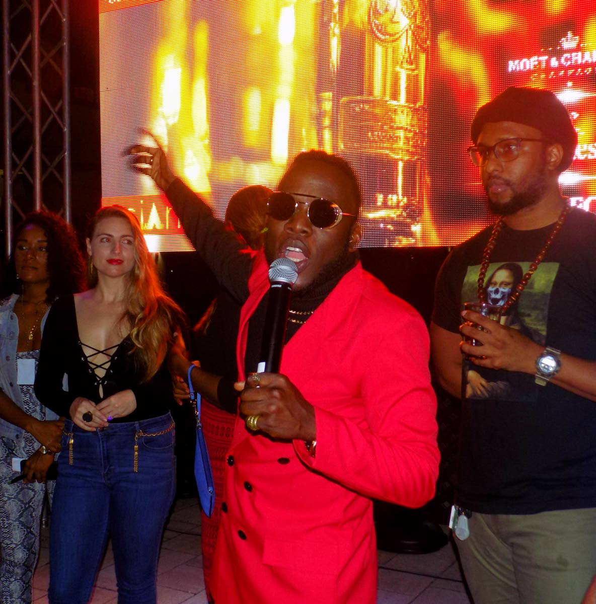 Soca star Erphaan Alves at the launch of his 'Soca Global' music video at Buzz Bar, One Woodbrook Place on Thursday night.