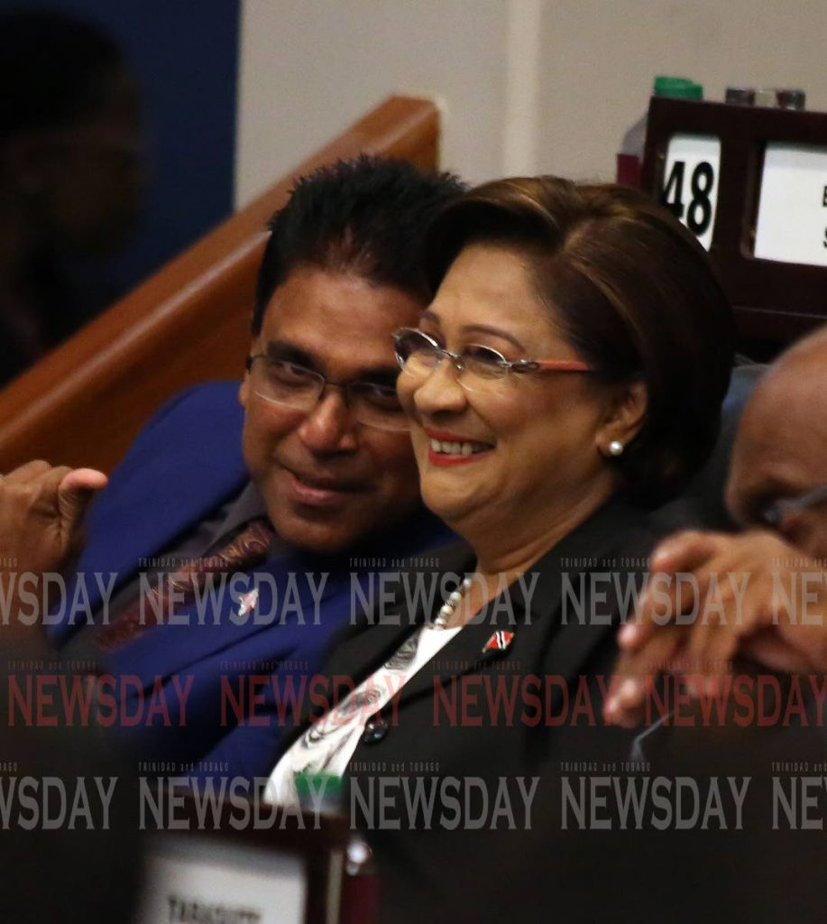 File photo: Opposition Leader Kamla Persad-Bissessar and UNC Oropouch East MP Dr Roodal Moonilal in   Parliament. PHOTO BY SUREASH CHOLAI