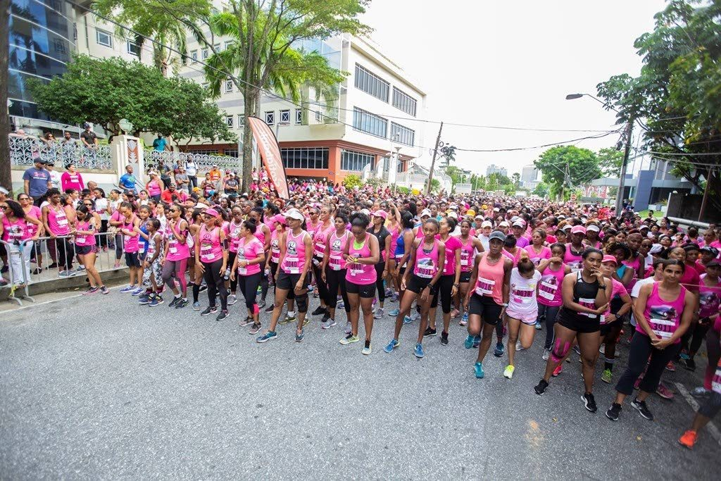 Participants line up for the start of the Scotiabank Women Against Breast Cancer 5K event, last year.